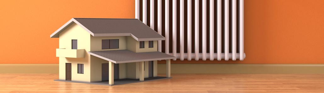 one sunny room with a radiator and a small home, concept of house heating and comfort (3d render)